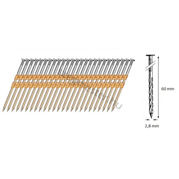 28/60 síktáras csavart gépi szeg 21° (6000 db)