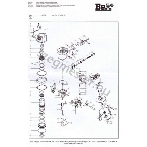 BeA 130 DC szegező alkatrészei