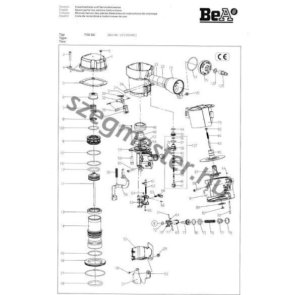 BeA 730 DC szegező alkatrészei