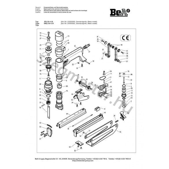 BeA 95/16-418 kapcsozó alkatrészei
