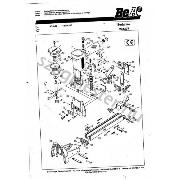BeA AT-A22 dobozlezáró alkatrészei