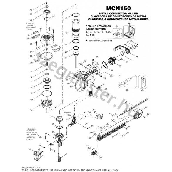 Bostitch MCN150-E szegező alkatrészei