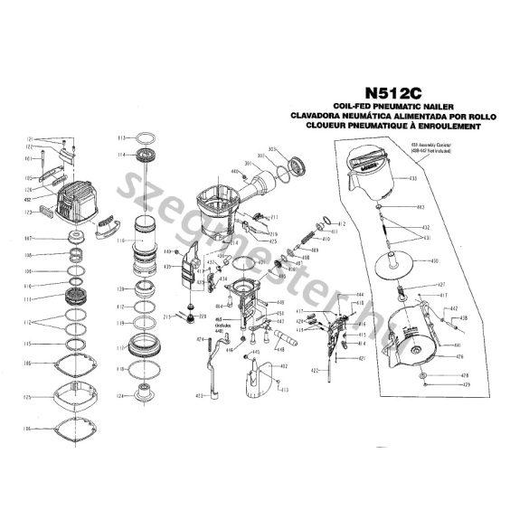 Bostitch N512 szegező alkatrészei