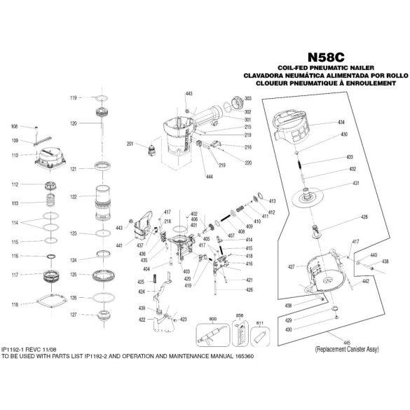 Bostitch N58C-1-E szegező alkatrészei