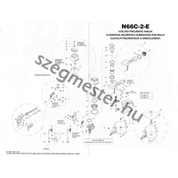 Bostitch N66C-2-E szegező alkatrészei