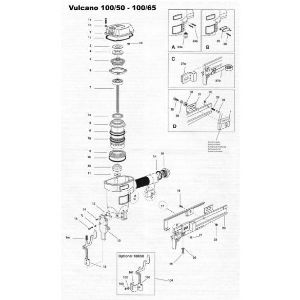 Vulcano 100/50 és 100/65 alkatrészei