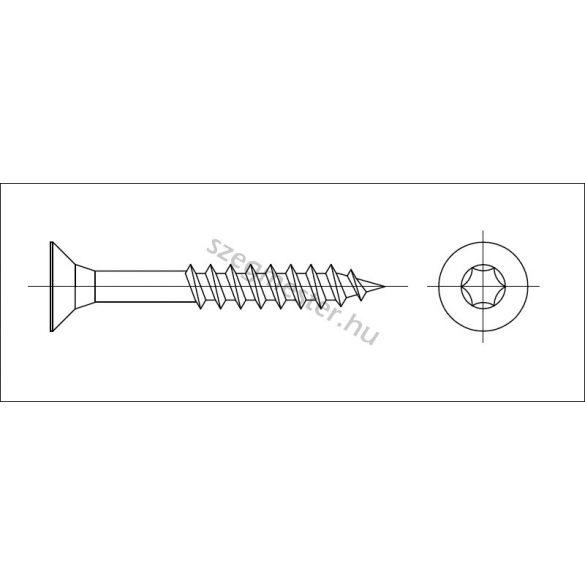Forgácslap csavar 5,0x40mm (süllyesztett) TX25